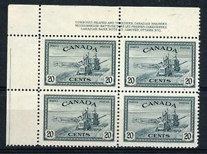 Weeda Canada 271 VF MNH UL plate #1 block, 20c Peace Issue CV $45