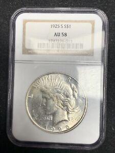 1925-S $1 NGC AU58 Peace Silver Dollar, Better Date Borderline Uncirculated UNC