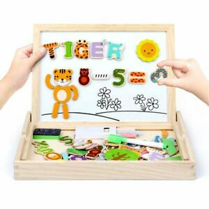 Magnetic Board Puzzle Games Wooden Double Side Drawing Writing Board Learning