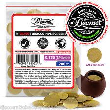 "200 Beamer Brass Metal Tobacco Smoking Pipe Screens .750"" 3/4""Comp2 Glass, Steel"
