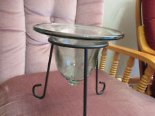 Vintage Home Decor Green Glass Potpourri/Candle Holder/Vase in Cast Iron Stand