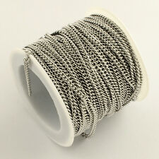 Stainless Steel Curb Chain 10m/roll 2.4x1.9x0.5 mm Bracelet Necklace Chain |0126