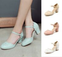 Women's Ankle Strap Mary Janes Chunky Heels Pumps Round Toe Casual Buckle Shoes