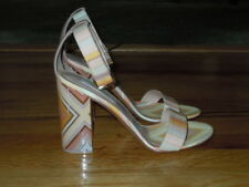 "VALENTINO ""NATIVE COUTURE"" 1975 LEATHER SANDAL IN ORANGE MULTI NWOB SZ 37(7)"
