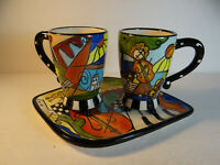 Studio Designworks Whimsical Coffee Mugs Cups Set of 2 With Funky Tray