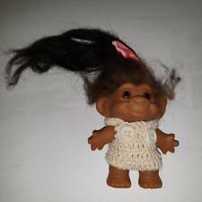Vintage DAM Rare Dark Skinned Troll Long Dark Brown Original Hair  FREE FEDEX