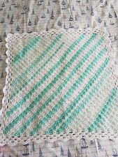 "HANDMADE CROCHET BABY C2C BLANKET GREEN & WHITE 29 X 29"" [74 X 74CM]"