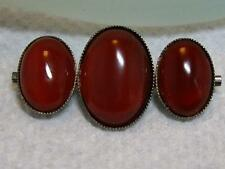 VICTORIAN STERLING AGATE CARNELIAN CABOCHON BROOCH PIN C-CLASP C.1890's