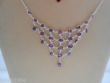 Genuine Sterling Silver Sri Lankan Garnet Gems Net Necklace (N2/18)