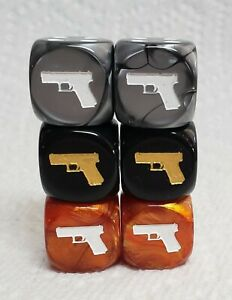 6 Dice - *3* Pairs of Handguns as #1 on *3* Fun Colors - Gold, Silver, Bronze!