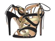 Jerome C. Rousseau Women's Black Gold Cinoche Sandal Heels Sz 36 2114
