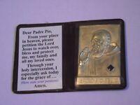 Old stock medal pocket shrine stigmata St Padre Pio relic prayer card folder