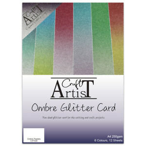 Ombre Pastel A4 Glitter Card Pack