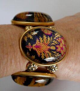 "JOOLZ HAYWORTH Handmade  "" OLGA""  Stretch Bracelet ~ Rich Brocade STATEMENT ~EUC"