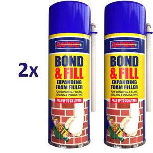 2 x 500ml Expanding Foam Filler Bond & Fill Bonding Filling Sealing insulating