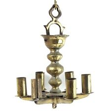 Antique Brass Sabbath Hanging Lamp Judenstern Germany 19th Century Judaica
