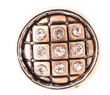 Brass Rhinestone Square Patch 12mm Mini Charm  For Ginger Snaps Magnolia Vine