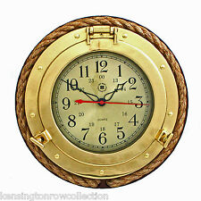 CLOCKS - NAUTICAL WALL CLOCK WITH FISHERMANS ROPE - SOLID BRASS - NAUTICAL DECOR