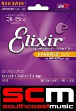 LONG LIFE ELIXIR 11077 BRONZE ACOUSTIC GUITAR STRINGS LIGHT MEDIUM 12-56 GAUGE