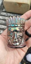 Vintage 1971 Blue Joe St Clair Indian Chief Head Carnival Glass Toothpick Holder