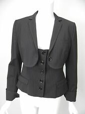 DOLCE & GABBANA Jacket Charcoal Gray Pinstripe Shrug Over Vest sz 44 US 8