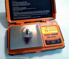 TUF-100 0.01g Pocket Scale with 100g Calibration Weight TUFF Rubber Grip Orange