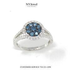 NYJEWEL Brand New 14K White Gold 1ct White & Blue Diamond Cocktail Ring