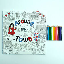 Coloring Book Around My Town With 12 Mini Color Pencils, Tracking Number