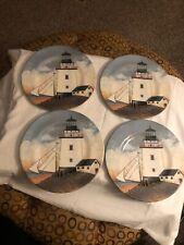 "David Carter Lighthouse 8"" Plate By the Sea Sakura Evolution Resin Set of 4"