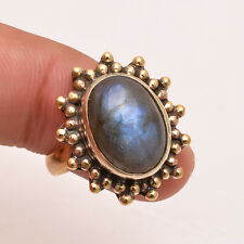 Natural Labradorite Gemstone Ring Size UK Q, Antique Brass Jewelry BRR228