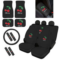 Cherry Car Seat Covers Front Rear Seat Belt Pads+Floor Mats+Wheel+Armrest 12/14X