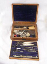 More details for antique victorian technical drawing set mahogany 2 tier box rare & collectable
