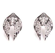 EGYPTIAN REVIVAL SILVER CRYSTAL RHINESTONE Eternal Life Angel Wing Stud Earrings