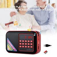 Portable Digital FM Radio USB/TF/AUX Stereo Sound MP3 Music Player Alarm Clock