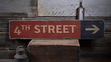 Street Name Arrow Mileage, Custom - Rustic Distressed Wood Sign ENS1001745