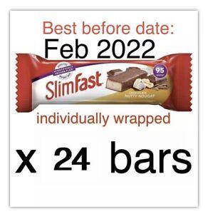 SlimFast Chocolate Nutty Nougat Treats Snack Bar 24 bars  BB: Feb 2022