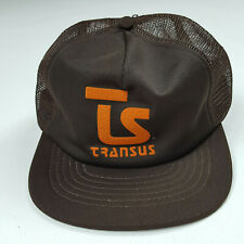 Vintage 80s TS Transus Brown Mesh Back Puffy Print USA Made Snapback Trucker Hat
