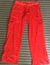 BCBG Maxazria Red Velour Track Pants Sz. L 4 Pockets Flare Bottoms Billie Eilish