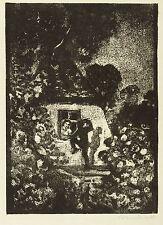 ROBERT BUDZINSKI - Heimlicher Besuch - Holzschnitt um 1920