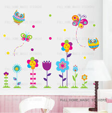 Colorful Butterfly Flowers Owls Wall Stickers Art Decal Nursery Decor Kids Room
