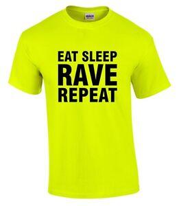 EAT SLEEP RAVE REPEAT Mens Neon Yellow T-Shirt S-5XL Printed Techno 80s 90s