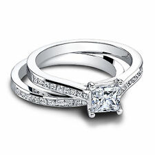 Natural 1.10 CT Diamond Wedding Ring Set Fine 14K White Gold Band Size M N O P