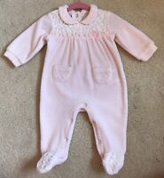 iDo Baby Girl Pink Velour Outfit Babygrow 3 Months Crystals
