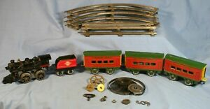 Vintage Hafner Overland Flyer Sunshine Special Wind-up Cast Iron Tin Litho Set