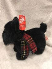 RUSS BERRIE Plaid Scarf BLACK SCOTTIE Terrier DOG #4810 SHADOW Plush Animal