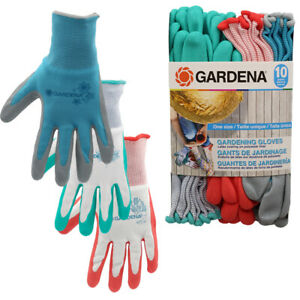 10pk Gardena Ladies Gardening Gloves, Breathable Knit & Rubber Coated Protection