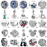 925 Pave Sterling European Silver CZ Pendant Charms Bead Fit Bracelets Necklaces