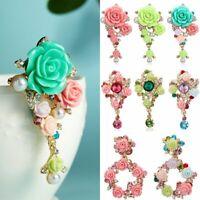 Fashion Pearl Crystal Flower Plant Brooch Pin Women Rhinestone Wedding Jewelry