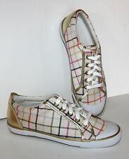 COACH Barrett Tattersall Plaid Check Canvas Gold Sneakers Shoes 6B NEW