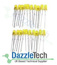 3mm Diffused Yellow LED 500mcd Diffused Yellow Lens Pack of 20
